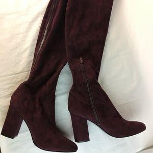 Guess Womens 8 M Long High Heel Boots Maroon Zip